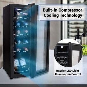 Internal Features of Nutrichef PKCWC 120 Wine Refrigerator